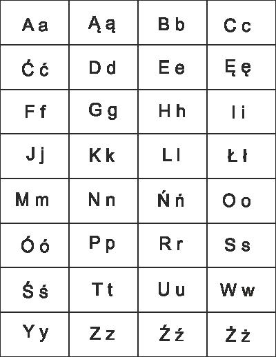 Polski Alfabet W Tabeli Do Wydruku Pdf
