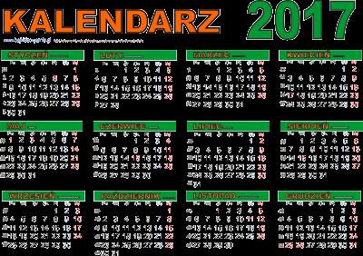 Kalendarz poziomy 2017 z
