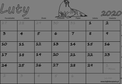 Kalendarz Do Druku Pdf Luty 2020 Edukacyjne Bajki Do