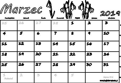 Kalendarz Do Druku Pdf Marzec 2019 Edukacyjne Bajki Do Czytania