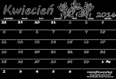 Kalendarz do druku - Kwiecień 2016 | Edukacyjne bajki do czytania