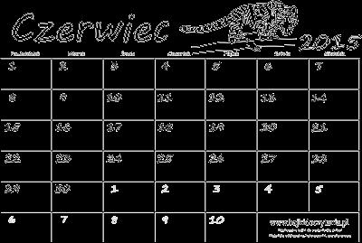 Kalendarz do druku i kolorowania na czerwiec 2015