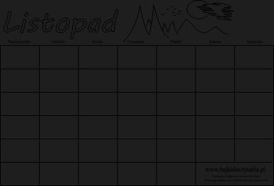 kalendarz listopad uniwersalny kalendarz listopad 2014 kalendarz ...