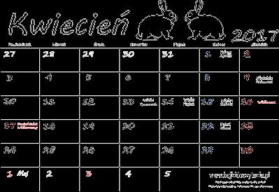 Kalendarz do druku - Kwiecień 2017 | Edukacyjne bajki do czytania