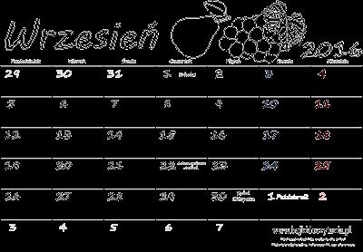 Kalendarz do druku - Wrzesień 2016 | Edukacyjne bajki do czytania