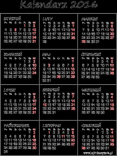Kalendarz na 2016 rok do druku pdf | Edukacyjne bajki do czytania