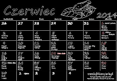 Kalendarz do druku dla dzieci - Czerwiec 2014