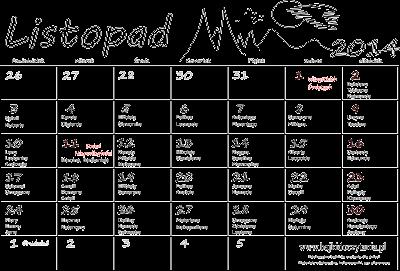 Kalendarz z imieninami na listopad 2014