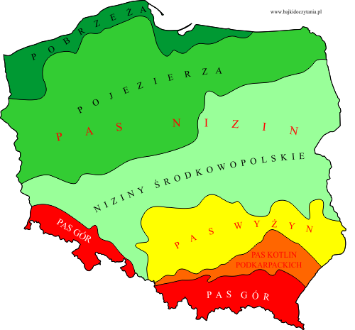 Pasowe ukształtowanie powierzchni Polski - mapa konturowa ...